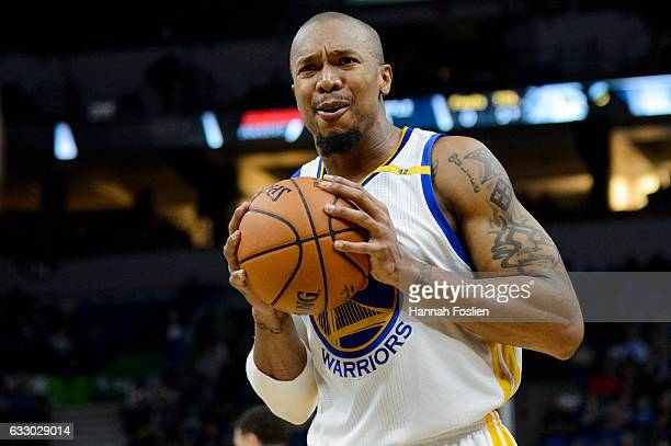 David West of the Golden State Warriors reacts to a call during the game against the Minnesota Timberwolves on December 11 2016 at Target Center in...