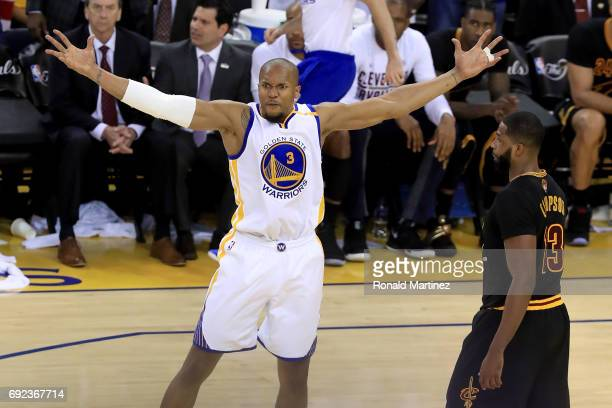 David West of the Golden State Warriors reacts to a play against the Cleveland Cavaliers in Game 2 of the 2017 NBA Finals at ORACLE Arena on June 4...