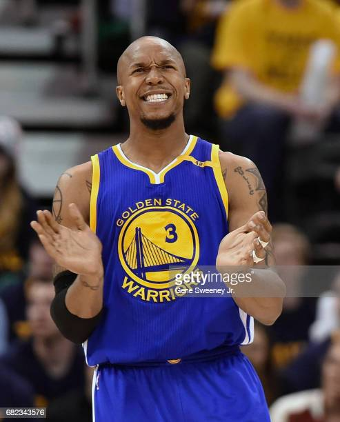 David West of the Golden State Warriors reacts to a play during their game against the Utah Jazz in Game Four of the Western Conference Semifinals...