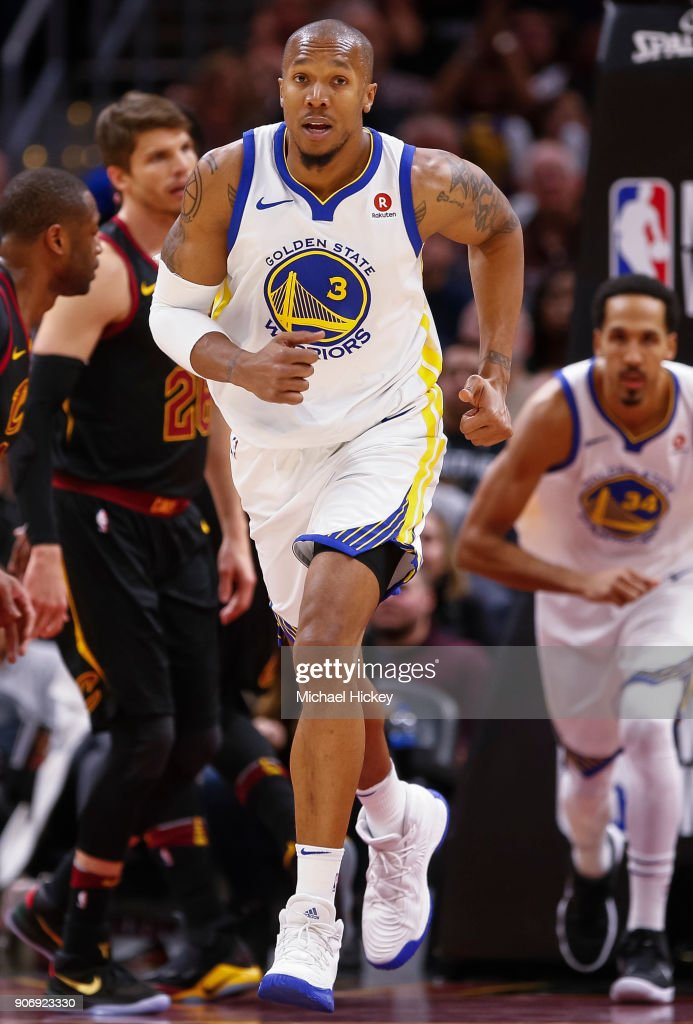 David West #3 of the Golden State Warriors runs up the court during the game against the Cleveland Cavaliers at Quicken Loans Arena on January 15, 2018 in Cleveland, Ohio.