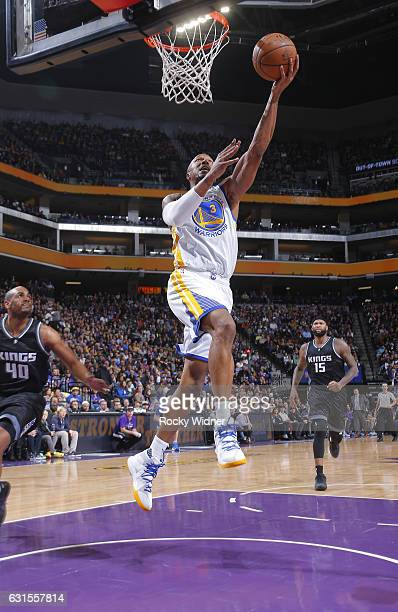 David West of the Golden State Warriors shoots a layup against the Sacramento Kings on January 8 2017 at Golden 1 Center in Sacramento California...