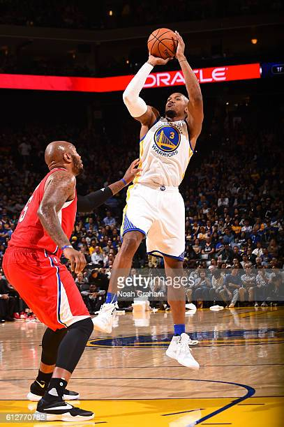 David West of the Golden State Warriors shoots the ball against the Los Angeles Clippers during a preseason game on October 4 2016 at ORACLE Arena in...