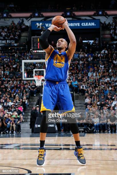 David West of the Golden State Warriors shoots the ball against the San Antonio Spurs on March 11 2017 at the ATT Center in San Antonio Texas NOTE TO...