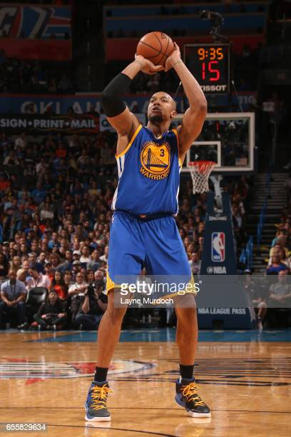 David West of the Golden State Warriors shoots the ball against the Oklahoma City Thunder on March 20 2017 at Chesapeake Energy Arena in Oklahoma...