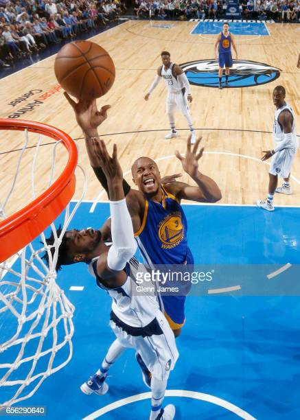 David West of the Golden State Warriors shoots the ball against the Dallas Mavericks during the game on March 21 2017 at the American Airlines Center...