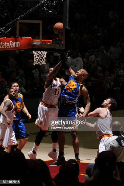 David West of the Golden State Warriors shoots the ball against the Cleveland Cavaliers in Game Four of the 2017 NBA Finals on June 9 2017 at Quicken...