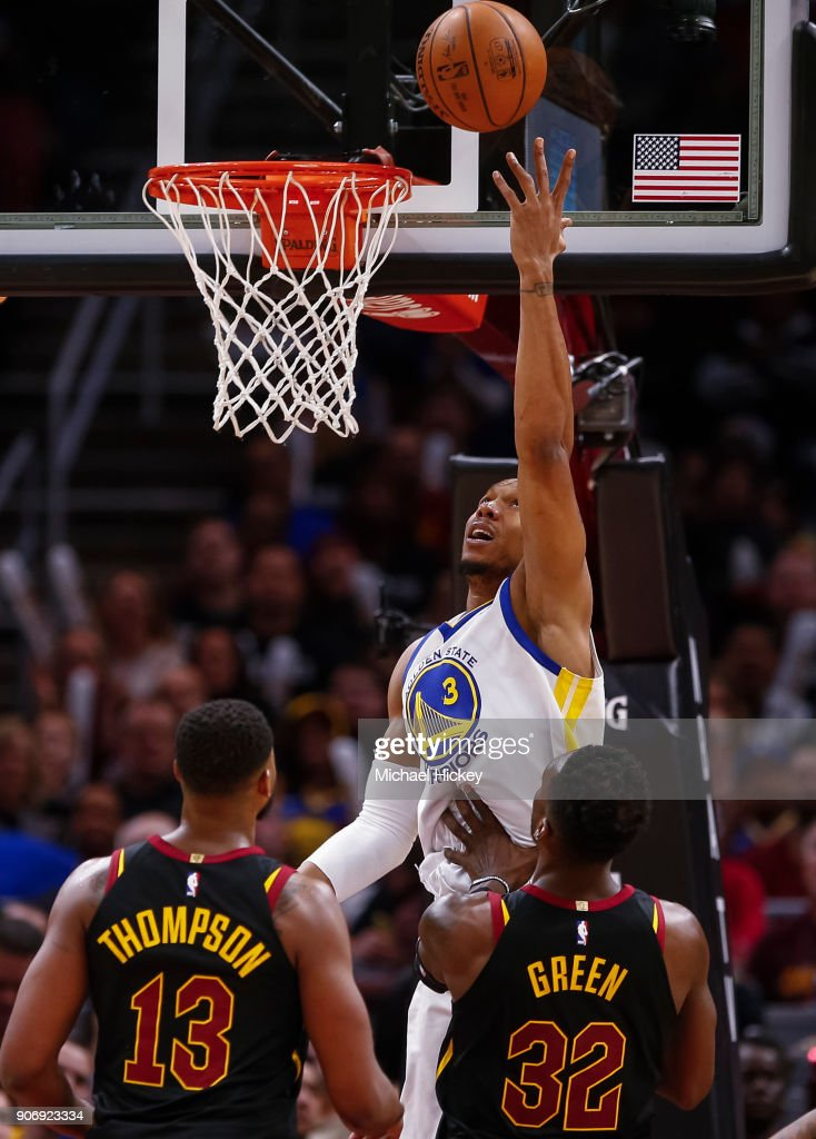 David West #3 of the Golden State Warriors shoots the ball against the Cleveland Cavaliers at Quicken Loans Arena on January 15, 2018 in Cleveland, Ohio.