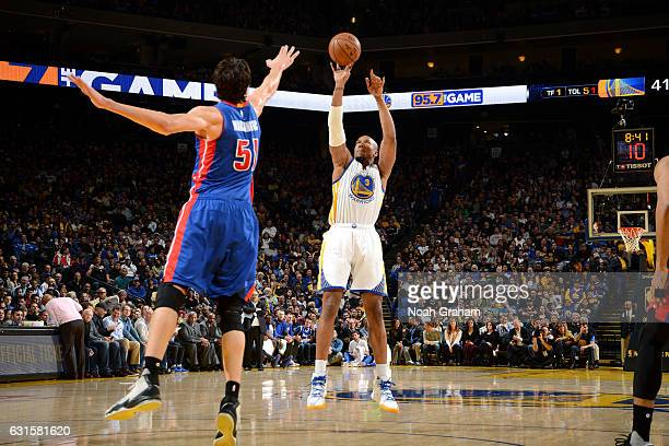 David West of the Golden State Warriors shoots the ball during the game against the Detroit Pistons on January 12 2017 at ORACLE Arena in Oakland...