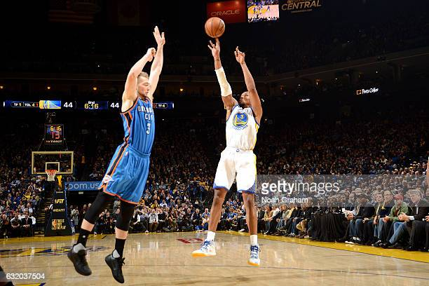 David West of the Golden State Warriors shoots the ball during the game against the Oklahoma City Thunder on January 18 2017 at ORACLE Arena in...