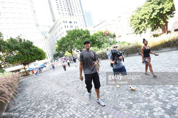 David West of the Golden State Warriors takes in some sights around Hong Kong as part of the 2017 Global Games China on October 3 2017 in Hong Kong...