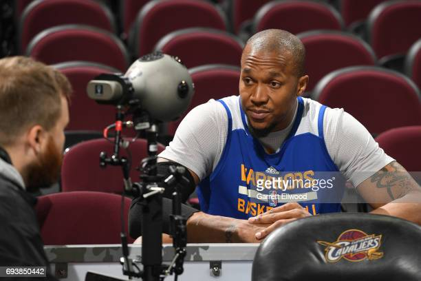 David West of the Golden State Warriors talks to the media during practice and media availability as part of the 2017 NBA Finals on June 08 2017 at...