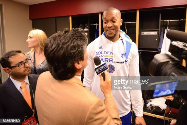 David West of the Golden State Warriors talks to the media in the locker room after Game Three of the 2017 NBA Finals against the Cleveland Cavaliers...