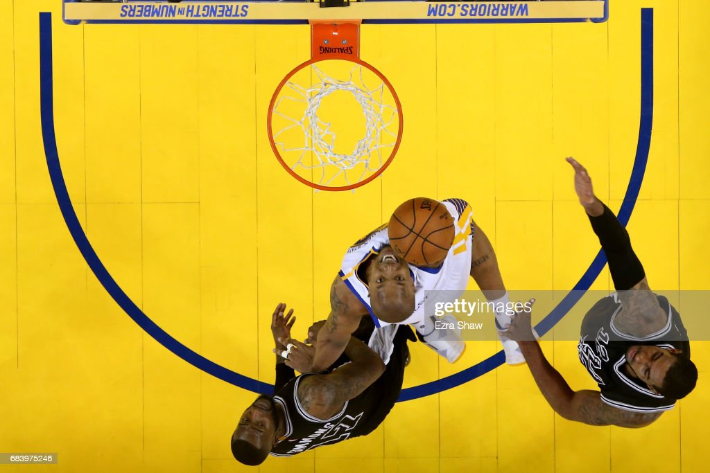 David West #3 of the Golden State Warriors throws up a shot against the San Antonio Spurs during Game Two of the NBA Western Conference Finals at ORACLE Arena on May 16, 2017 in Oakland, California.