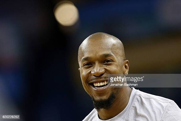 David West of the Golden State Warriors warms up before a game against the New Orleans Pelicans at the Smoothie King Center on October 28 2016 in New...