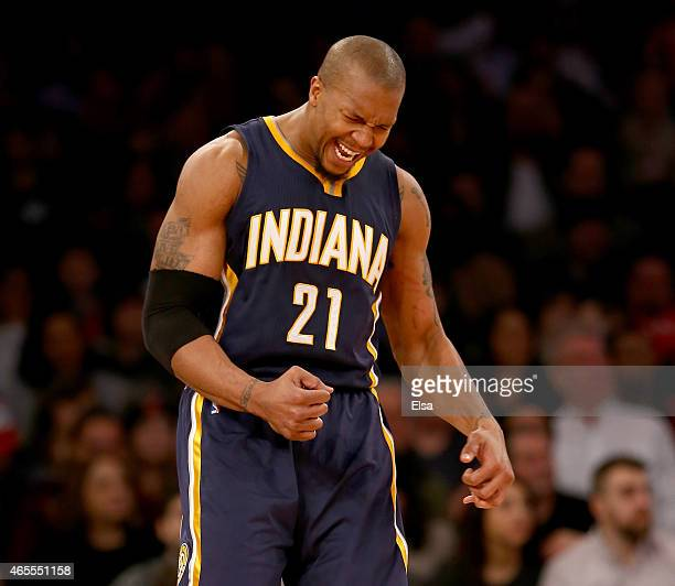 David West of the Indiana Pacers celebrates a foul is called against the New York Knicks at Madison Square Garden on March 7 2015 in New York...