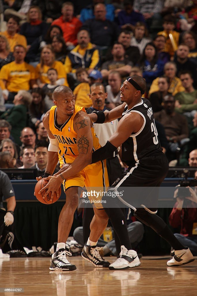 David West #21 of the Indiana Pacers controls the ball against the Brooklyn Nets at Bankers Life Fieldhouse on February 1, 2014 in Indianapolis, Indiana.