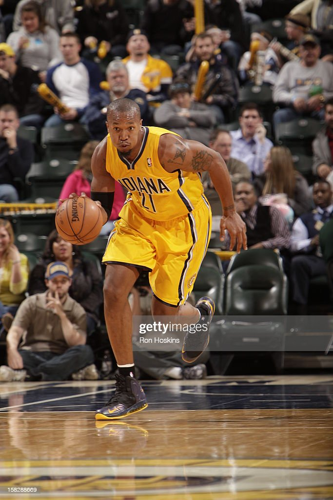 David West #21 of the Indiana Pacers drives during the game between the Indiana Pacers and the Cleveland Cavaliers on December 12, 2012 at Bankers Life Fieldhouse in Indianapolis, Indiana.