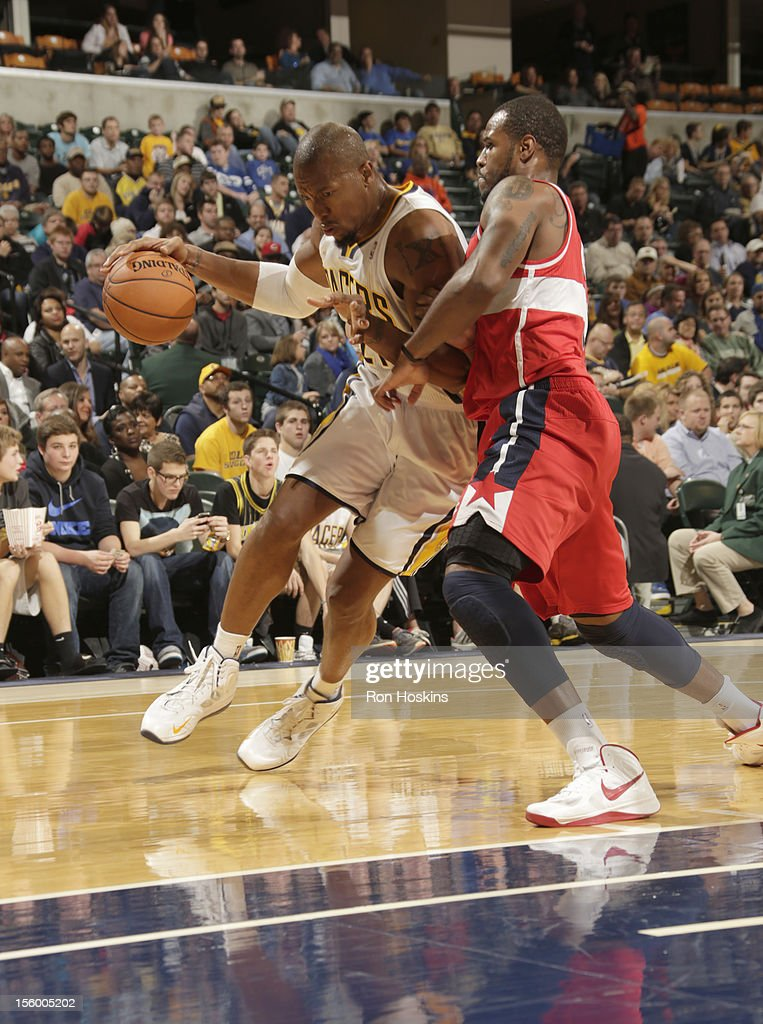 David West #21 of the Indiana Pacers drives the ball during the game between the Indiana Pacers and the Washington Wizards on November 10, 2012 at Bankers Life Fieldhouse in Indianapolis, Indiana.