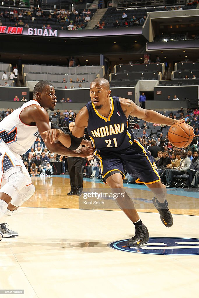 David West #21 of the Indiana Pacers drives to the basket against the Charlotte Bobcats at the Time Warner Cable Arena on January 15, 2013 in Charlotte, North Carolina.