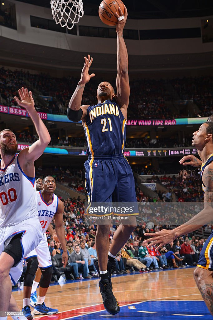 David West #21 of the Indiana Pacers drives to the basket against the Philadelphia 76ers at the Wells Fargo Center on March 16, 2013 in Philadelphia, Pennsylvania.