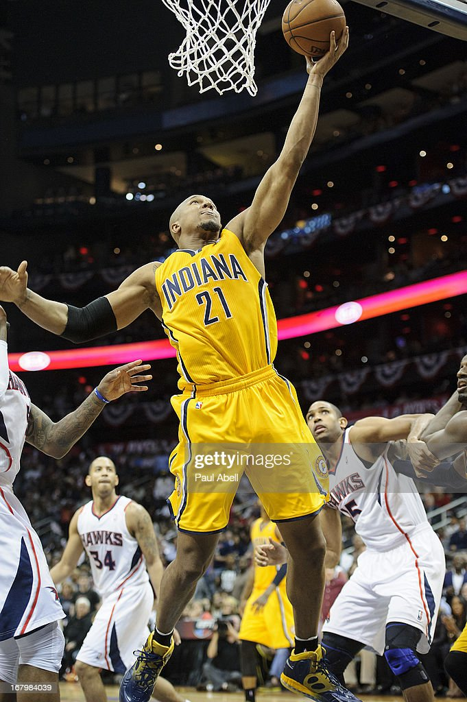 David West #21 of the Indiana Pacers drives to the basket during the second half against the Atlanta Hawks at Philips Arena on May 3, 2013 in Atlanta, Georgia. The Pacers defeated the Hawks 81-73.