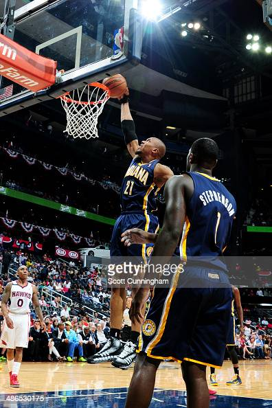 David West of the Indiana Pacers dunks against the Atlanta Hawks during Game Three of the Eastern Conference Quarterfinals on April 24 2014 at...