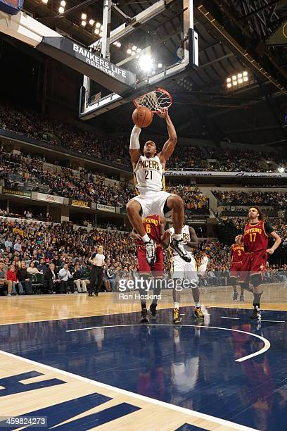 David West of the Indiana Pacers dunks the ball against the Cleveland Cavaliers at Bankers Life Fieldhouse on December 28 2013 in Indianapolis...