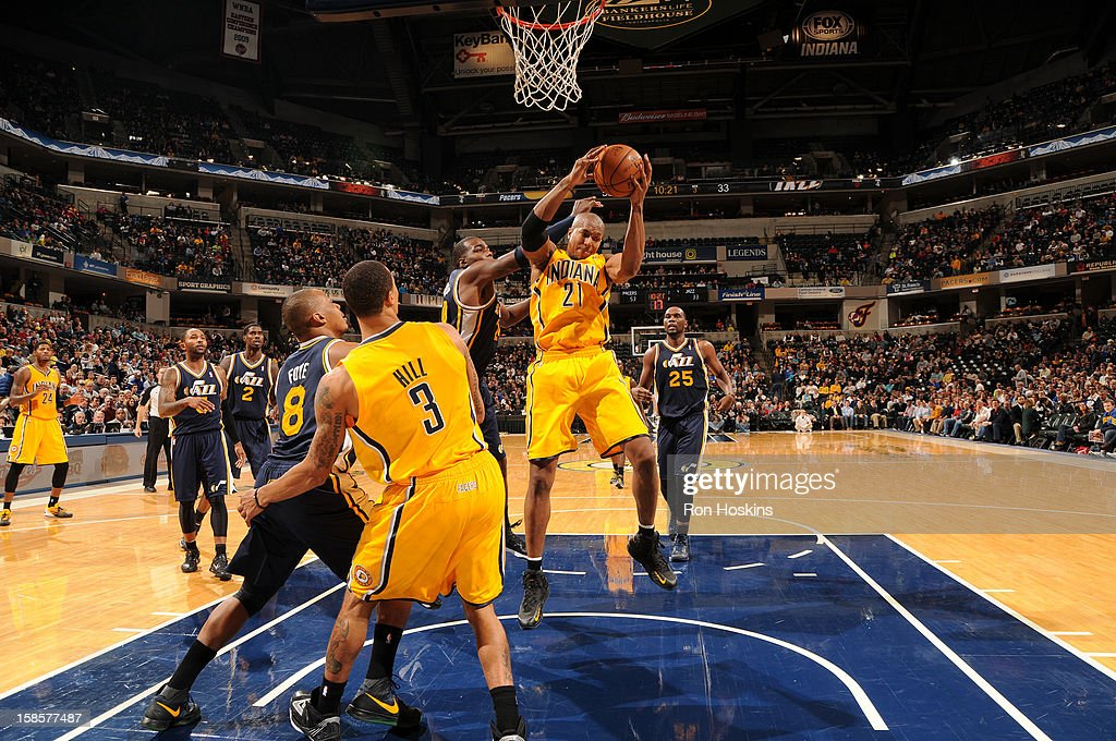 David West #21 of the Indiana Pacers gains the ball control during the game between the Indiana Pacers and the Utah Jazz on December 19, 2012 at Bankers Life Fieldhouse in Indianapolis, Indiana.