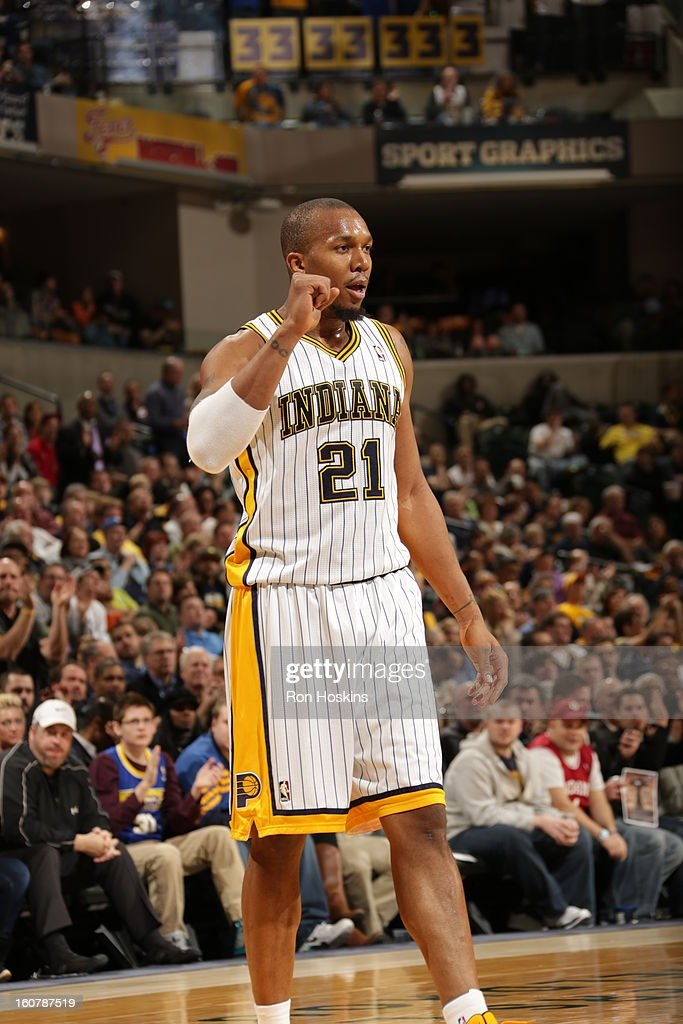 David West #21 of the Indiana Pacers gets excited after a play against the Atlanta Hawks on February 5, 2013 at Bankers Life Fieldhouse in Indianapolis, Indiana.