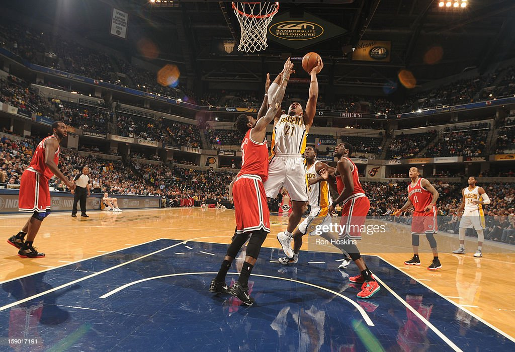 David West #21 of the Indiana Pacers goes to the basket during the game between the Milwaukee Bucks and the Indiana Pacers on January 5, 2013 at Bankers Life Fieldhouse in Indianapolis, Indiana.