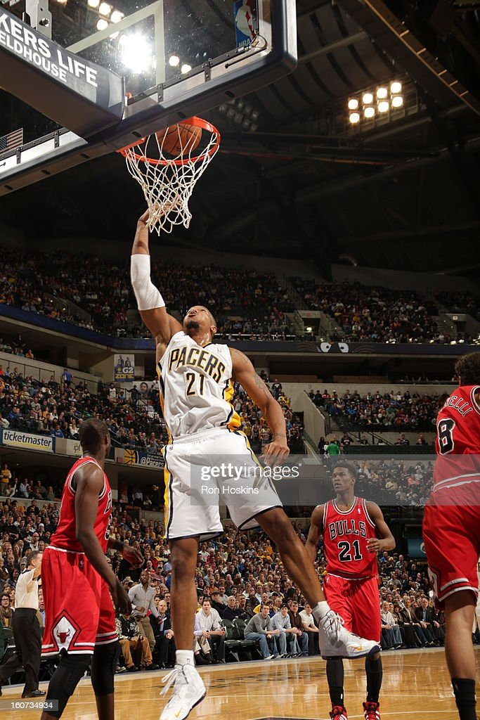 David West #21 of the Indiana Pacers goes to the basket during the game between the Indiana Pacers and the Chicago Bulls on February 4, 2013 at Bankers Life Fieldhouse in Indianapolis, Indiana.