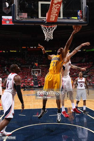 David West of the Indiana Pacers goes up for a shot against the Atlanta Hawks during Game Six of the Eastern Conference Quarterfinals on May 1 2014...
