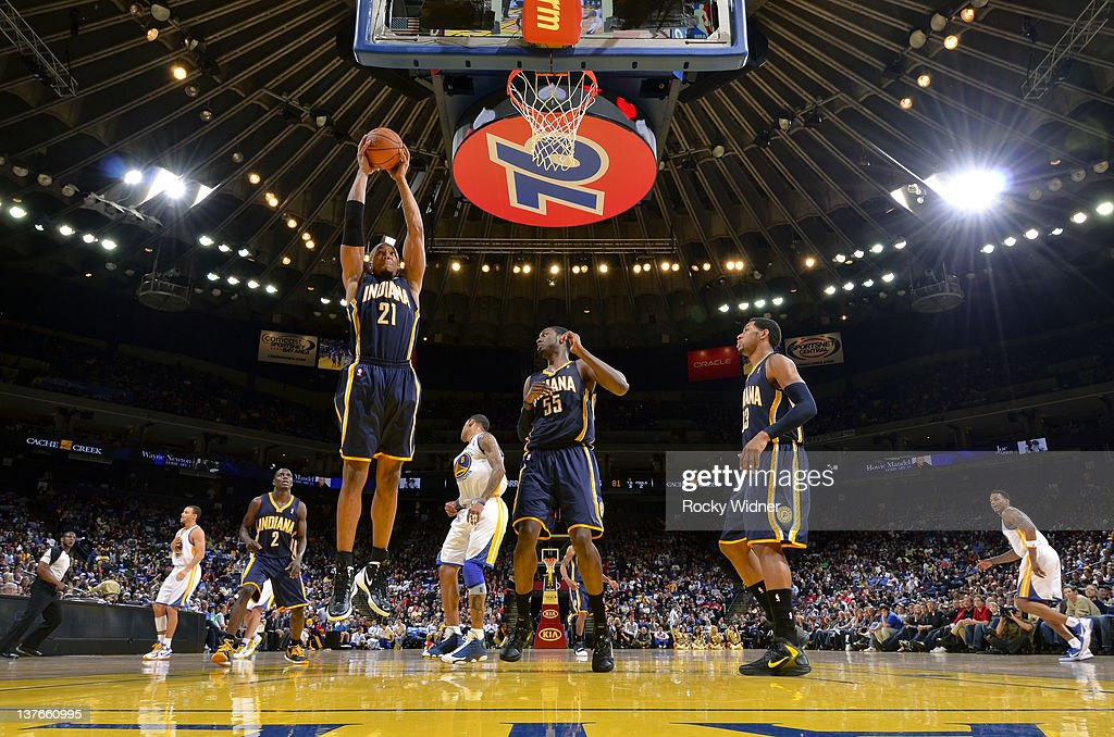 David West #21 of the Indiana Pacers grabs a rebound against the Golden State Warriors on January 20, 2012 at Oracle Arena in Oakland, California.