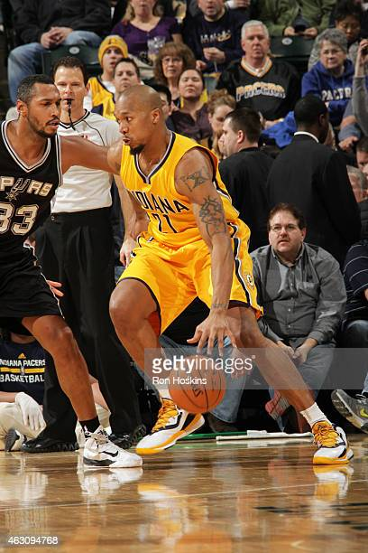 David West of the Indiana Pacers handles the ball against the San Antonio Spurs on February 9 2015 at Bankers Life Fieldhouse in Indianapolis Indiana...