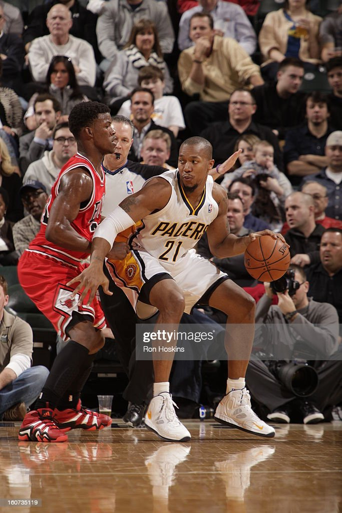 David West #21 of the Indiana Pacers protects the ball during the game between the Indiana Pacers and the Chicago Bulls on February 4, 2013 at Bankers Life Fieldhouse in Indianapolis, Indiana.