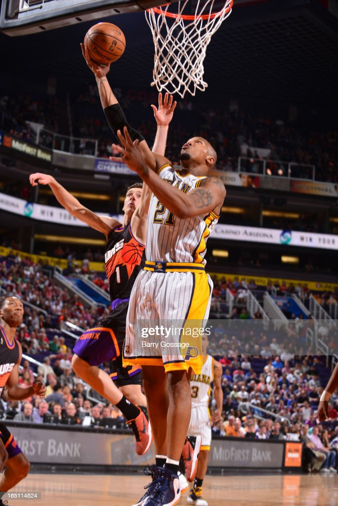 David West #21 of the Indiana Pacers puts a shot up against the Phoenix Suns on March 30, 2013 at U.S. Airways Center in Phoenix, Arizona.