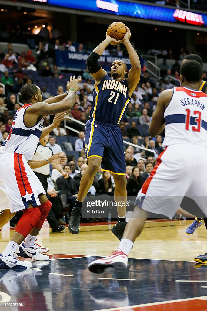 David West #21 of the Indiana Pacers puts up a shot against the Washington Wizards during the second half at Verizon Center on November 19, 2012 in Washington, DC.