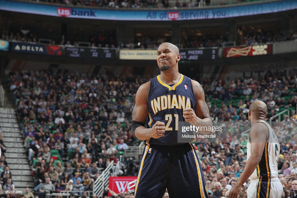 David West #21 of the Indiana Pacers reacts after being fouled during play against the Utah Jazz at Energy Solutions Arena on January 26, 2013 in Salt Lake City, Utah.
