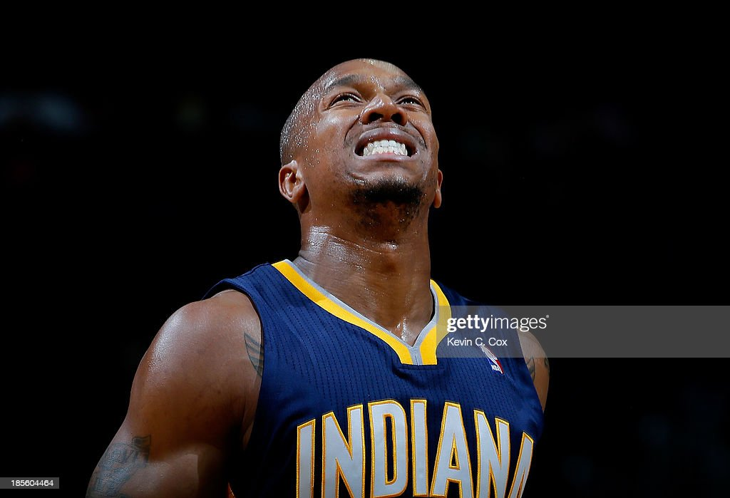David West #21 of the Indiana Pacers reacts as he runs down the court against the Atlanta Hawks at Philips Arena on October 22, 2013 in Atlanta, Georgia.
