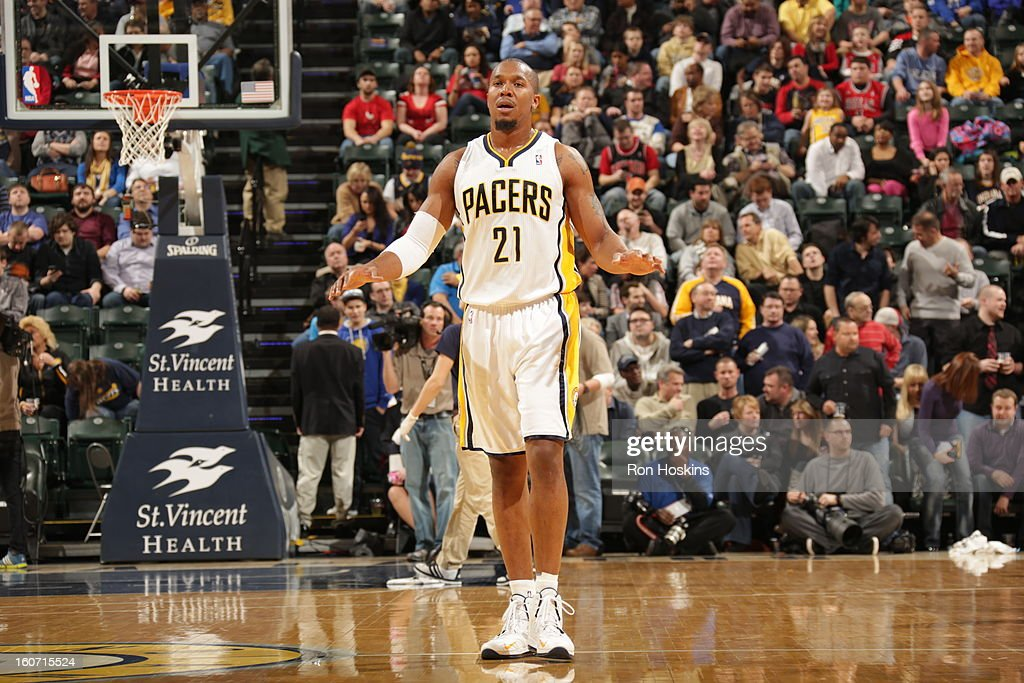 David West #21 of the Indiana Pacers reacts during the game between the Indiana Pacers and the Chicago Bulls on February 4, 2013 at Bankers Life Fieldhouse in Indianapolis, Indiana.