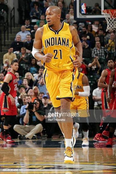 David West of the Indiana Pacers runs down the court during a game against the Indiana Pacers on December 23 2014 at Bankers Life Fieldhouse in...