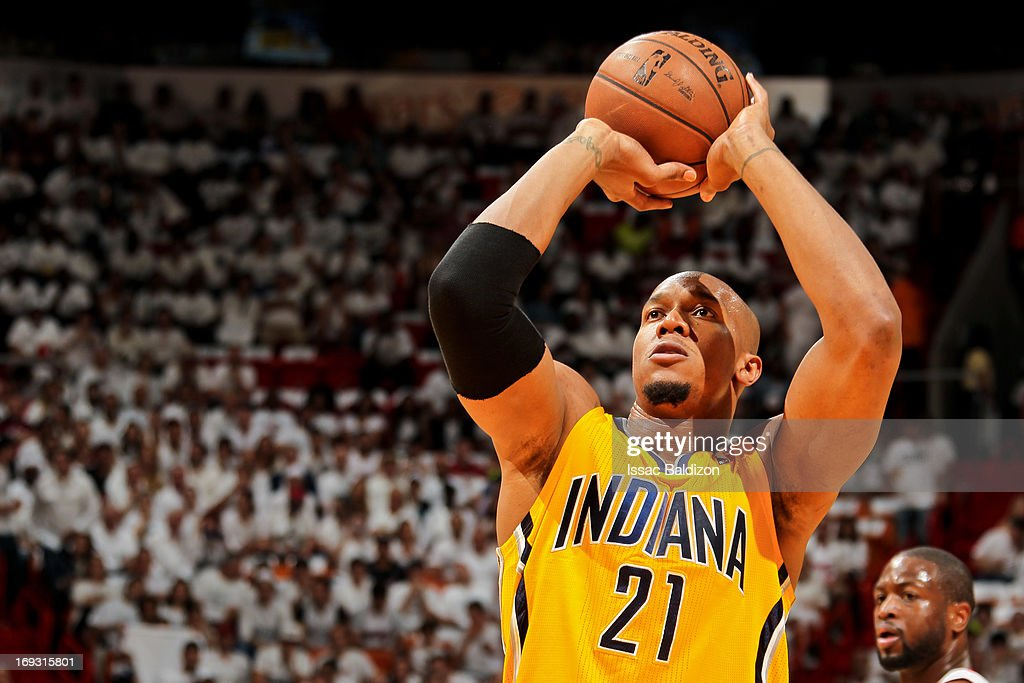 David West #21 of the Indiana Pacers shoots a free-throw against the Miami Heat in Game One of the Eastern Conference Finals during the 2013 NBA Playoffs on May 22, 2013 at American Airlines Arena in Miami, Florida.