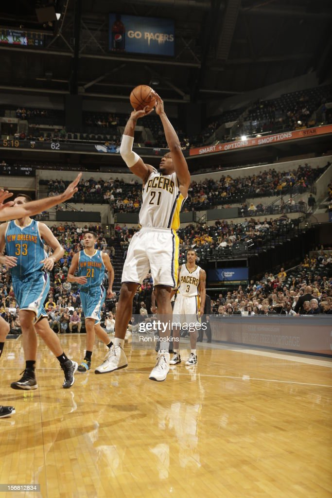 David West #21 of the Indiana Pacers shoots a jumper v the New Orleans Hornets on November 21, 2012 at Bankers Life Fieldhouse in Indianapolis, Indiana.
