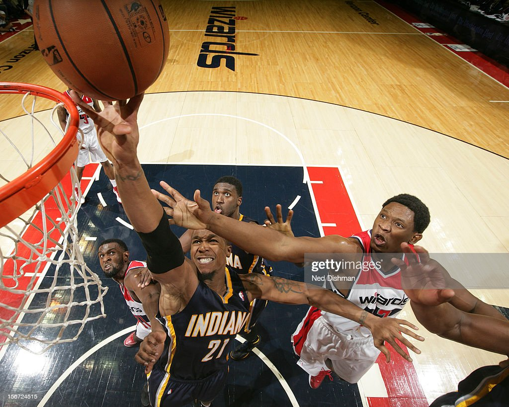David West #21 of the Indiana Pacers shoots against <a gi-track='captionPersonalityLinkClicked' href=/galleries/search?phrase=Kevin+Seraphin&family=editorial&specificpeople=6474998 ng-click='$event.stopPropagation()'>Kevin Seraphin</a> #13 of the Washington Wizards during the game at the Verizon Center on November 19, 2012 in Washington, DC.