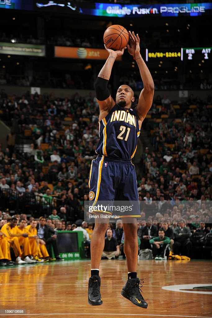 David West #21 of the Indiana Pacers shoots against the Boston Celtics on January 4, 2013 at the TD Garden in Boston, Massachusetts.