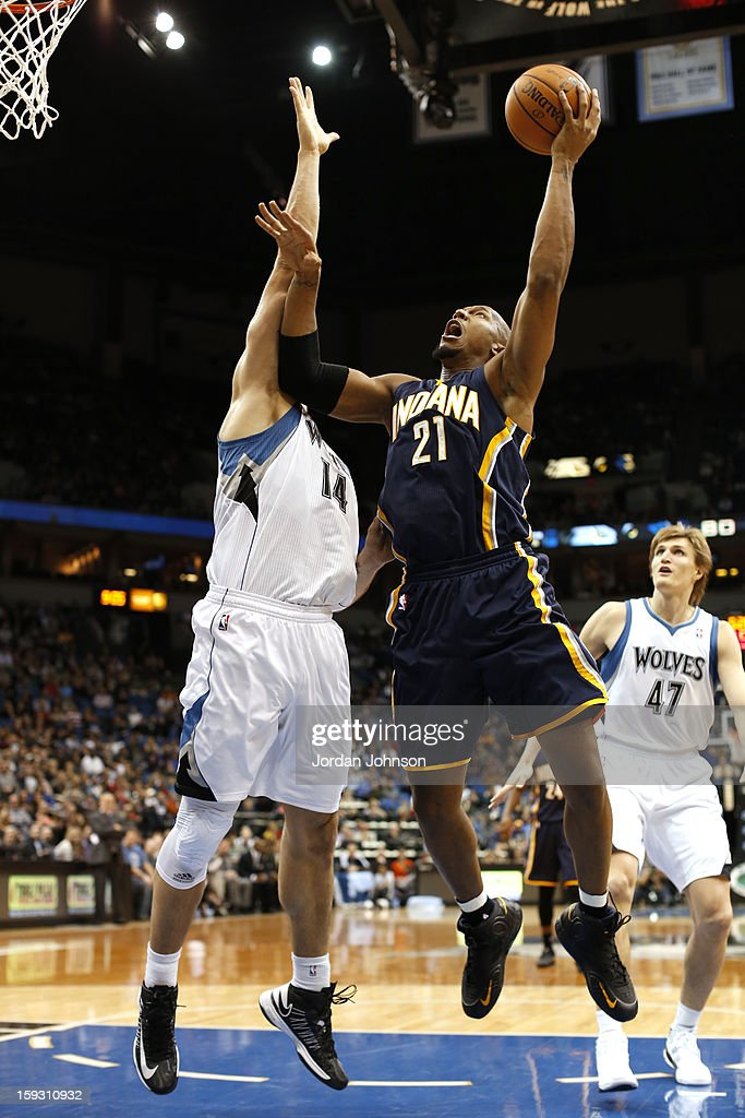 David West #21 of the Indiana Pacers shoots against the Minnesota Timberwolves on November 9, 2012 at Target Center in Minneapolis, Minnesota.