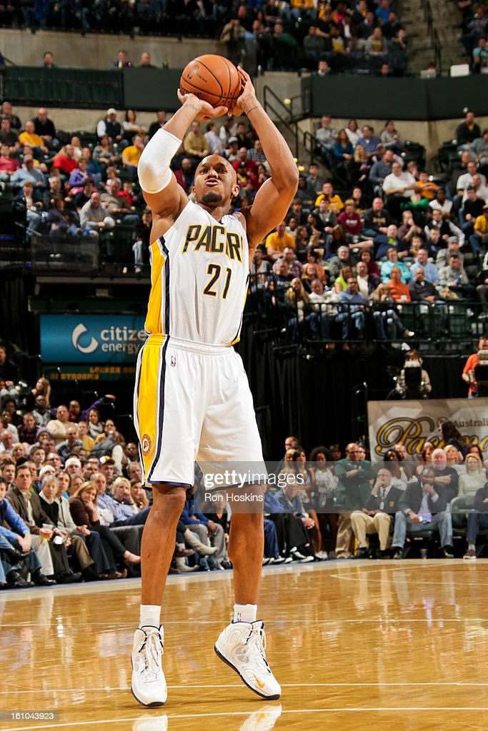David West #21 of the Indiana Pacers shoots against the Toronto Raptors on February 8, 2013 at Bankers Life Fieldhouse in Indianapolis, Indiana.