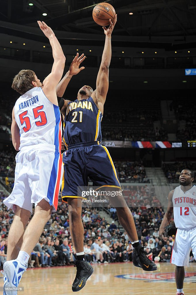 David West of the Indiana Pacers shoots against Viacheslav Kravtsov of the Detroit Pistons on February 23 2013 at The Palace of Auburn Hills in...
