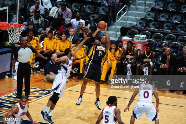 David West of the Indiana Pacers shoots the ball against the Atlanta Hawks on October 22 2013 at Philips Arena in Atlanta Georgia NOTE TO USER User...