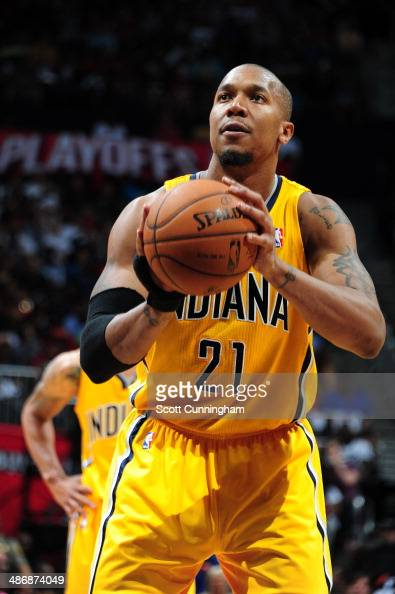 David West of the Indiana Pacers shoots the ball against the Atlanta Hawks during Game Four of the Eastern Conference Quarterfinals on April 26 2014...